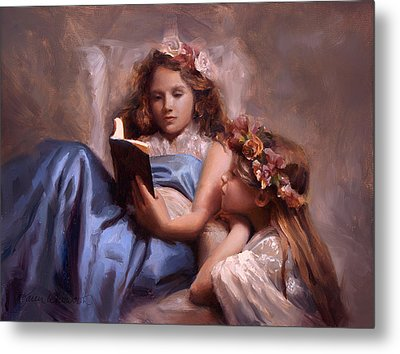 Metal Print featuring the painting Fairytales And Lace - Portrait Of Girls Reading A Book by Karen Whitworth