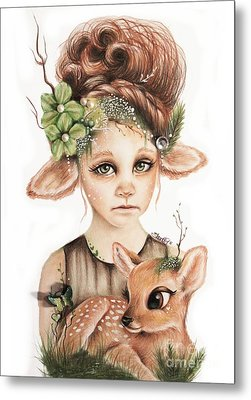 Metal Print featuring the drawing Faline - Only Friend In The World Collection by Sheena Pike