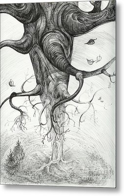 Metal Print featuring the drawing Fall by Anna  Duyunova