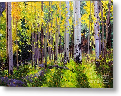 Fall Aspen Forest Metal Print