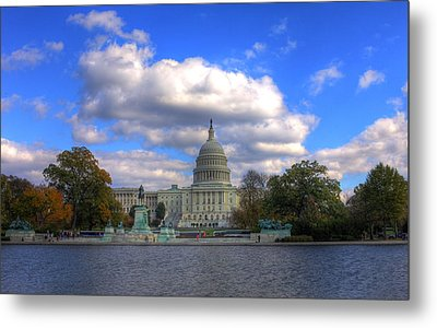 Fall At The Capital Building Metal Print