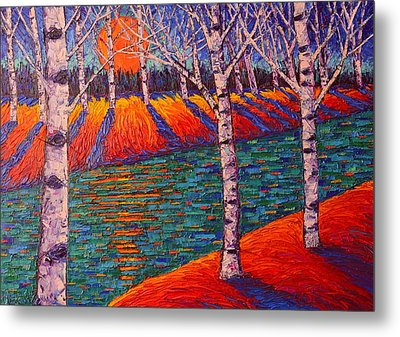 Fall Birches At Sunrise Contemporary Impressionist Palette Knife Oil Painting By Ana Maria Edulescu Metal Print by Ana Maria Edulescu