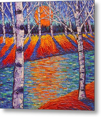 Fall Birches Sunrise 2 Contemporary Impressionist Palette Knife Oil Painting By Ana Maria Edulescu Metal Print by Ana Maria Edulescu