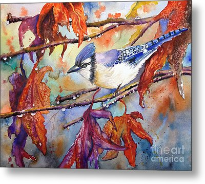 Fall Blue Jay Metal Print by Priti Lathia