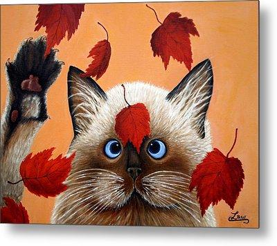Fall Cat Metal Print by Chris Law