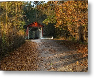 Metal Print featuring the photograph Fall Covered Bridge by Dale Kincaid