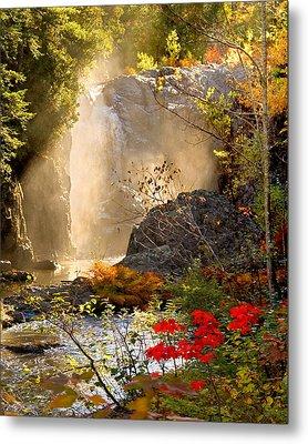 Fall Falls Mist  Dead River Falls  Marquette Mi Metal Print by Michael Bessler