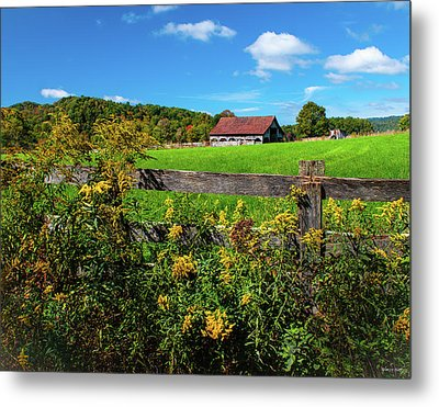 Fall Farm Metal Print by Rebecca Hiatt