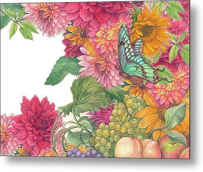 Fall Florals With Illustrated Butterfly Metal Print by Judith Cheng