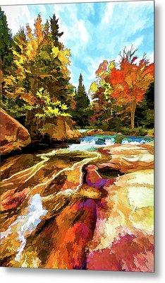 Fall Foliage At Ledge Falls 1 Metal Print by ABeautifulSky Photography