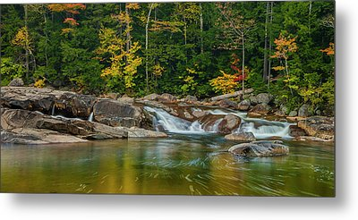 Fall Foliage In Autumn Along Swift River In New Hampshire Metal Print by Ranjay Mitra