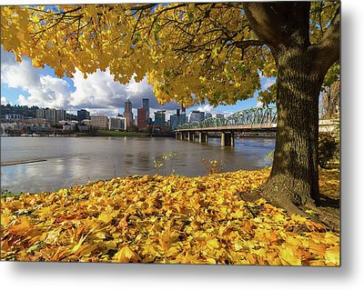 Fall Foliage With Portland Oregon City Metal Print
