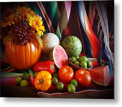 Metal Print featuring the painting Fall Harvest Still Life by Marilyn Smith