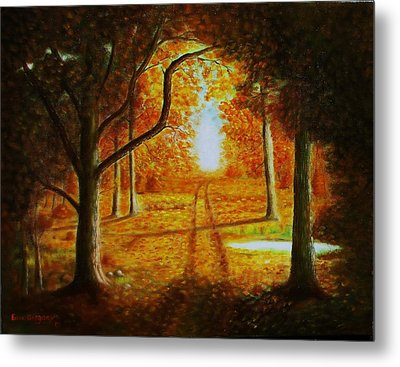 Fall In The Woods Metal Print