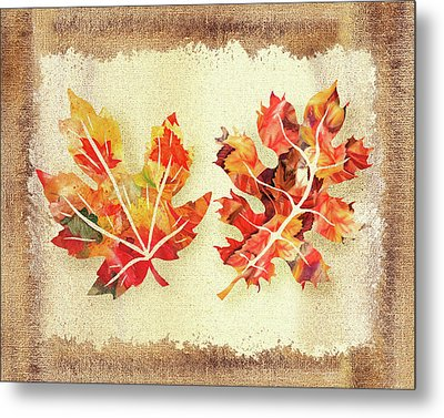 Metal Print featuring the painting Fall Leaves Collection by Irina Sztukowski