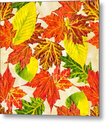 Metal Print featuring the mixed media Fall Leaves Pattern by Christina Rollo
