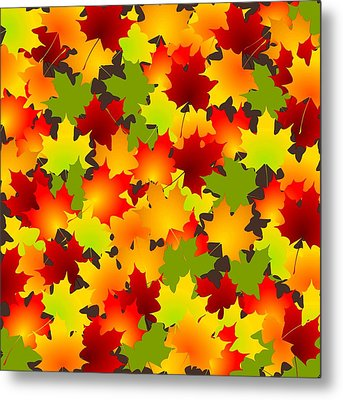 Fall Leaves Quilt Metal Print