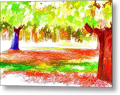 Fall Leaves Trees 2 Metal Print by Lanjee Chee