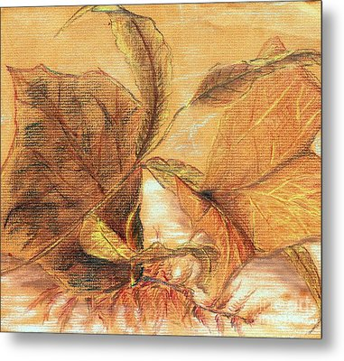 Metal Print featuring the pastel Fall Leaves by Vonda Lawson-Rosa