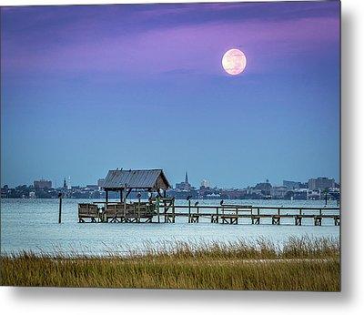 Fall Moon And King Tide - Charleston Sc Metal Print