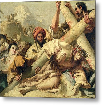 Fall On The Way To Calvary Metal Print by G Tiepolo