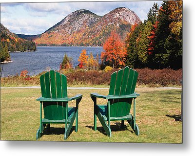 Fall Scenic With  Adirondack Chairs At Jordan Pond Metal Print by George Oze