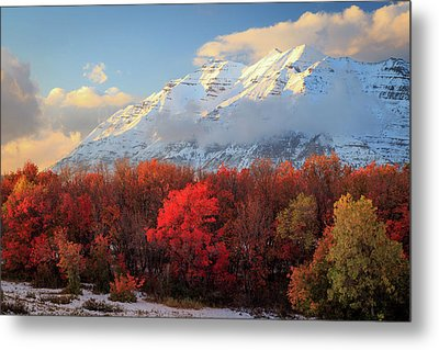 Metal Print featuring the photograph Fall Snow On Timpanogos. by Johnny Adolphson