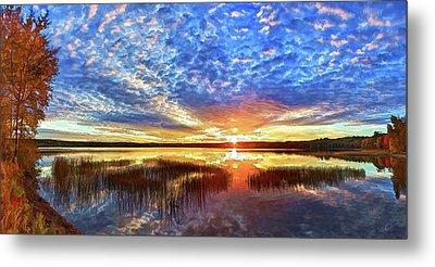 Fall Sunset At Round Lake Metal Print