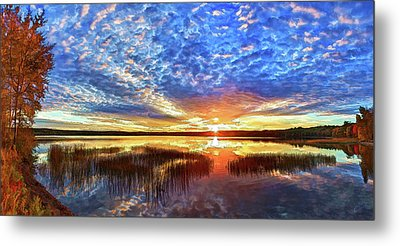 Fall Sunset At Round Lake Metal Print