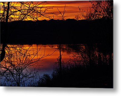 Fall Sunset Metal Print by Edward Peterson