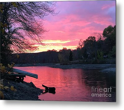 Fall Sunset On The Lake Metal Print