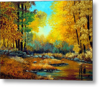 Fall Woods Stream  Metal Print by Laura Tasheiko
