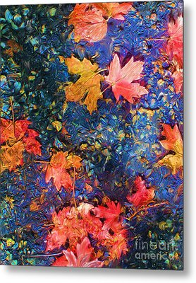 Falling Blue Leave Metal Print