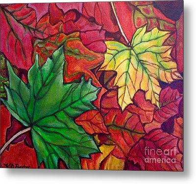 Metal Print featuring the painting Falling Leaves I Painting by Kimberlee Baxter