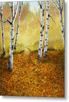 Metal Print featuring the painting Falling Leaves by Sena Wilson