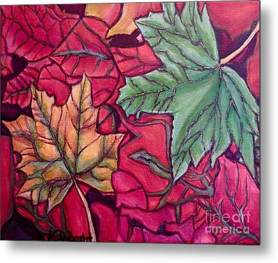 Metal Print featuring the painting Falling Leaves Two Painting by Kimberlee Baxter