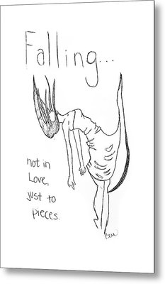 Metal Print featuring the drawing Falling by Rebecca Wood