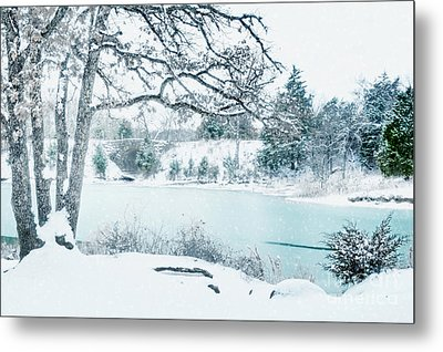 Falling Snow At Lake Murray Metal Print by Tamyra Ayles