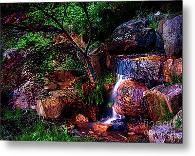 Falling Water At Honor Heights Park Metal Print by Tamyra Ayles