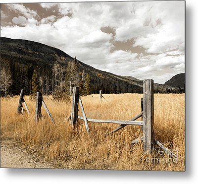 Fallowfield Weathered Fence Rocky Mountain National Park Dramatic Sky Metal Print by John Stephens