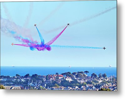 Falmouth Bay A Red Arrows Fan Metal Print