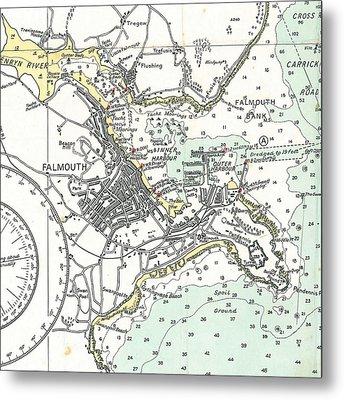 Falmouth Cape Cod Map Metal Print