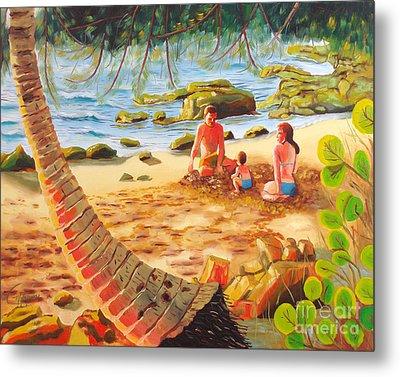Family Day At Jobos Beach Metal Print by Milagros Palmieri
