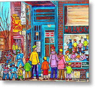 Family Day At Wilensky Lunch Counter Montreal Street Hockey Winter Scene Carole Spandau Metal Print by Carole Spandau
