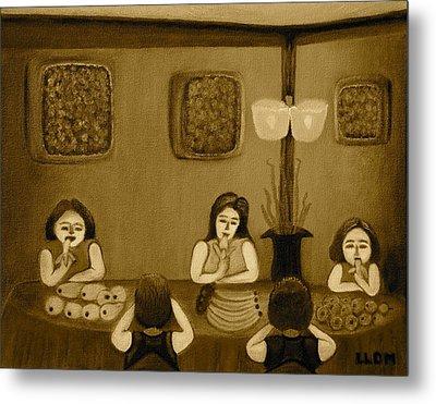 Family Dinner Sepia Metal Print by Lorna Maza