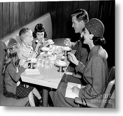 Family Eating Ice Cream Metal Print