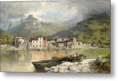 Family Fisherman In Lecco On Lake Como Metal Print by Ercole Calvi