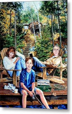 Family On The Dock Metal Print by Hanne Lore Koehler