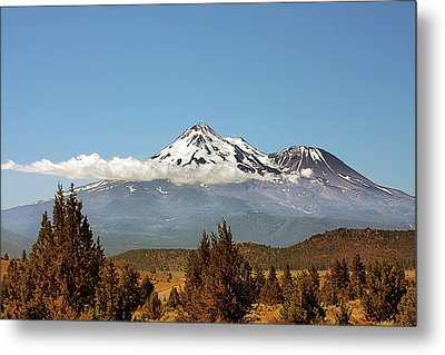 Family Portrait - Mount Shasta And Shastina Northern California Metal Print by Christine Till