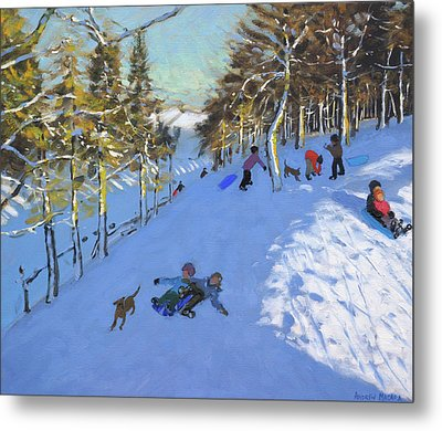 Family Sledging, Youlgreave, Derbyshire Metal Print by Andrew Macara